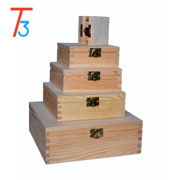variety square wooden boxes keepsake storage with lid and clasp