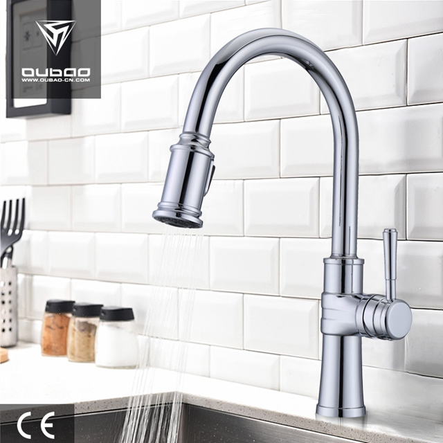 Chrome One Hole Kitchen Faucets With Sprayer