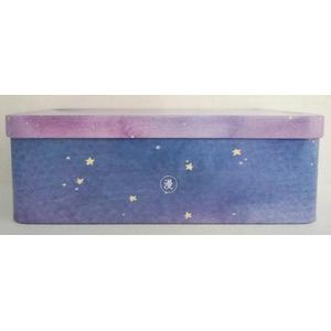 Rectangular Stationery Tin Box with Star Printing