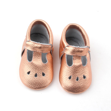 Popular Genuine Leather Gold Pink Moccasins Baby
