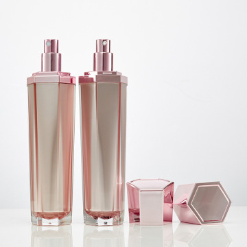 120ml Rose gold acrylic Hexagon cosmetic Bottle
