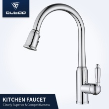 Chrome Swiveled Pull Out Sprayer Kitchen Faucet Tap