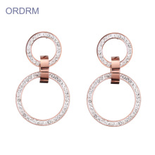 High Definition for Stainless Steel Hoop Earrings Simple rose gold crystal double hoop earrings export to South Korea Wholesale