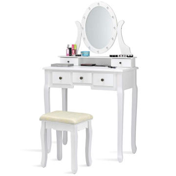 Muti-Functional Wooden Writing Desk LED light vanity dressing table