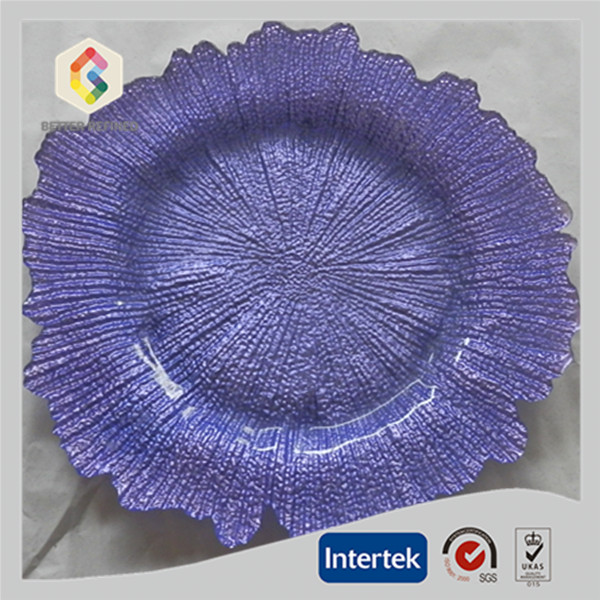 Color glass charger plates wholesale for wedding