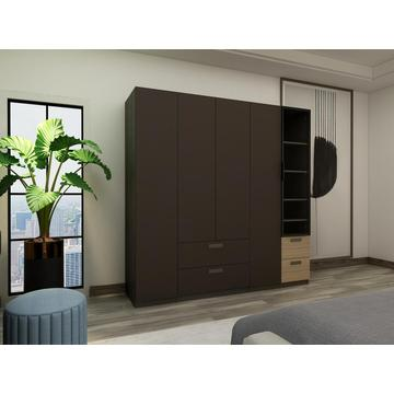 Gray Wooden Melamine Bedroom Wardrobe