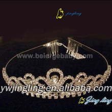 Hot Sale for Wedding Rhinestone Tiaras Gold rhinestone tiara pageant crowns export to Grenada Factory