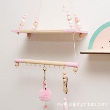 Pink Multifunctional Storage Shelf Nordic Display Wall Hanging Shelf Swing Rope Floating Shelves