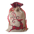 Christmas burlap sack with reindeer pattern