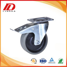 Low Cost for Tpu Wheel Caster 4'' plate caster with gray pu wheel export to Congo Supplier