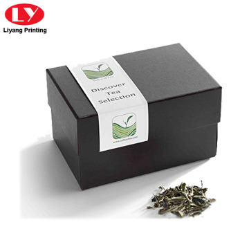 Matte Black Paper Tea Gift Box with Lid
