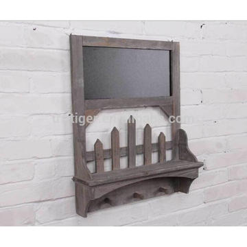 Country wooden wall hanging shelf with 3 hooks