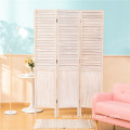 Wooden Slat 3 Panels Room Divider Privacy Screen Partition Folding Separator