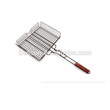 Wooden Handle Chrome BBQ Grill Wire Mesh