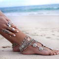 Wholesale Silver Coins Fringed Bracelet Anklet Retro Ethnic Jewelry