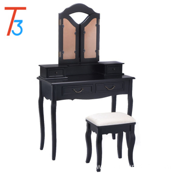 Black wood makeup 4 drawers stool wardrobe dressing table design