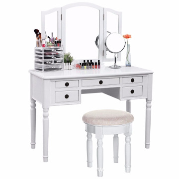 Makeup Dressing Vanity Table Mirror Desk Drawer Storage Bedroom Stool Dresser