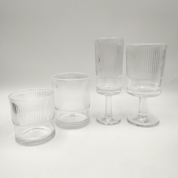 ribbed pattern tumbler glass wine cup for juice
