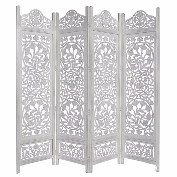 Lotus Antique White 4 Panel folding Screen 72x80 carved on both sides Handcrafted Wood Room Divider
