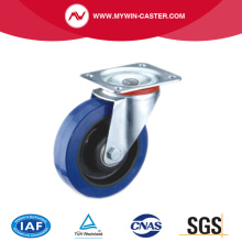 Plate Swivel Blue Elastic Rubber Caster