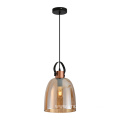 Amber Glass Pendant Lamp with Metal Lamp holder