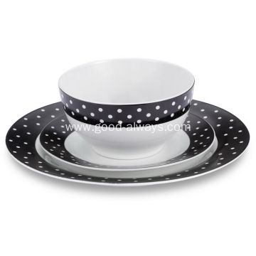 18 Piece Dinnerware Set White Dots Black