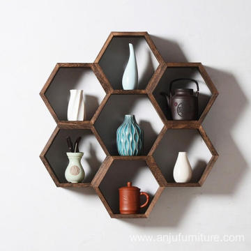 Assembled Shelf, Solid Wood Decorative Wall Hanging, Brown Bedroom Living Room Display Cabinet,