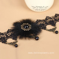 Fur Ball Charm With Bead Pendant Women Choker Necklace
