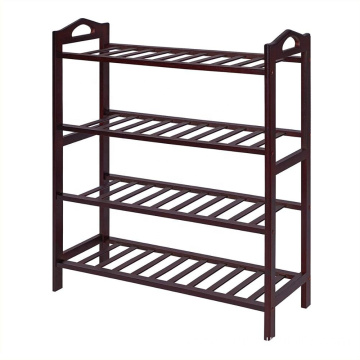 100% Bamboo 4-Tier Shoe Rack 30 Inch Wide Shoe Shelf Storage Organizer Holds Up to 16 Pairs,Ideal for Entryway Hallway