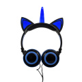 Cute design wired Unicorn Headphones with flash light