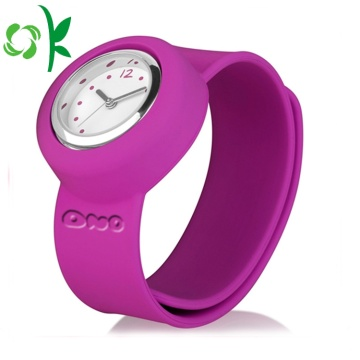 Simple High-quality Silicone Slap Bracelet with Watch