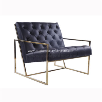 Thin Frame Tufted Leather Lounge Chair