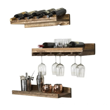 5 Bottle Wall Mounted 3 Piece Wine Bottle Rack