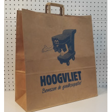 Brown Flat Handle Kraft Shopping Bag