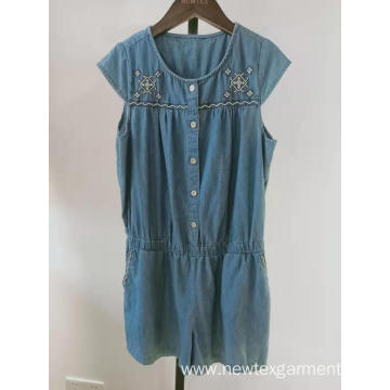 casual cotton denim cap sleeve embroidery girls jumpsuit