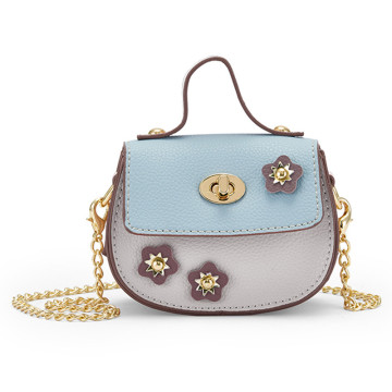 Contrast and flower decoration mini handbag messenger bag
