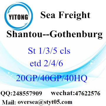 Shantou port sea freight shipping to Gothenburg