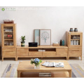 Light Brown Solid Rubber Wood TV Unit Makabati