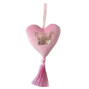 Pink Christmas heart shaped decorations with tassels