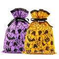 Cheap Price Orange Halloween Drawstring Bags Spider Web