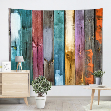 Vintage Planks Tapestry Wall Hanging Vertical Colorful Striped Wooden Board Wall Tapestry for Livingroom Bedroom Dorm Home Decor