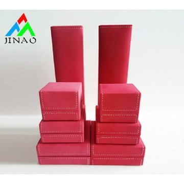 Custom Logo red PU Leather Jewelry Box