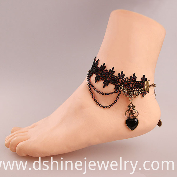 Heart Charm Tassel Anklet Jewelry