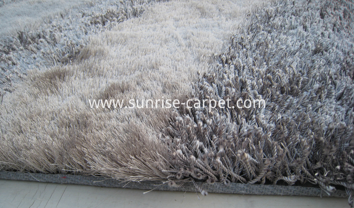 polyester shaggy rugs thick and thin yarn