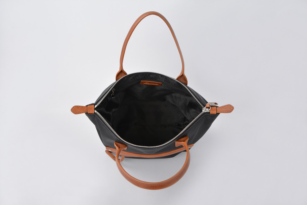 Waterproof black nylon tote bag nylon handbags with leather handles