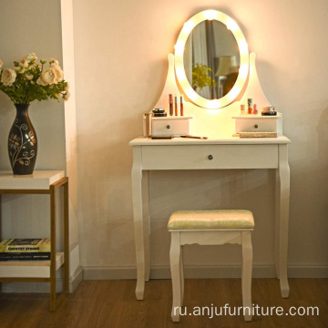 10 Led Lights Removable Top Organizer Multi-Functional Vanity Dressing Table Set with Makeup Mirror