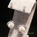 925 Silver Earring Diamond And Pearl Earrings Long Design