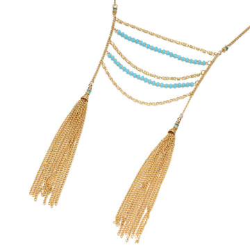 Good Quality for Tassel Necklace Multilayer Crystal Beaded Necklace Chain Tassel Necklace supply to Italy Factory