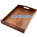 Large Size Wood Serving Tray with Handle, Black Walnut, 17.7 x 13 x 2.4 Inches: Serving Trays