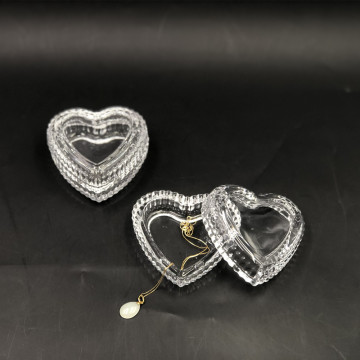 New Arrival Clear Heart Shape Glass Jewelry Box
